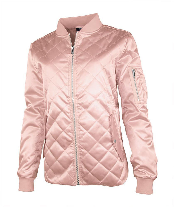 CR 5027L - Quilted Boston Flight Jacket - Rose Gold