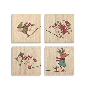 DEM - Christmas Coasters - Skating Characters (4 Assorted)