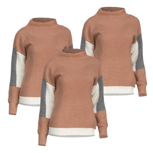 HOW - Mock Neck Color Block Sweater - Rose