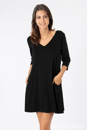 SN - Simply Noelle Everyday Basic Knit Dress - Black