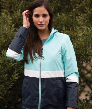 Women's Color Blocked New Englander Rain Jacket 5292 - Aqua/White/Navy