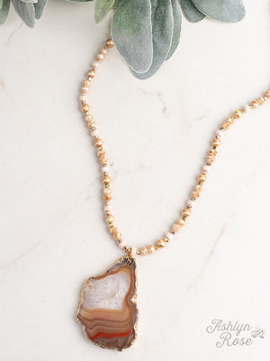 Glam in the Sand Beige Beaded Necklace with Natural Stone Pendant