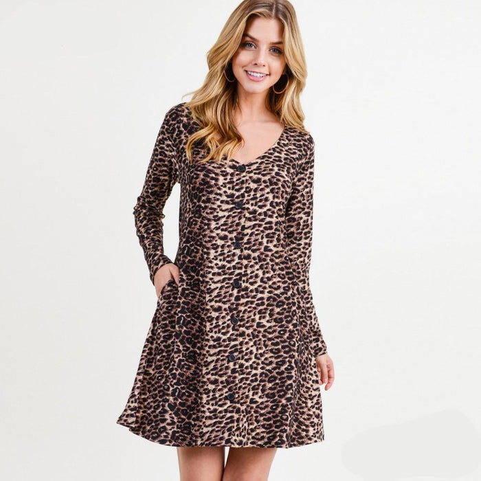 JUD - Women's Classic Faux Button Down Dress - Leopard Print