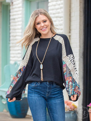 Laced in the Sky Waffle Knit Top - Black