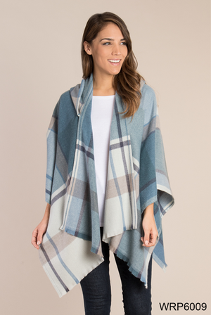 SN - Simply Noelle Plaid Hooded Wrap - One Size Fits Most