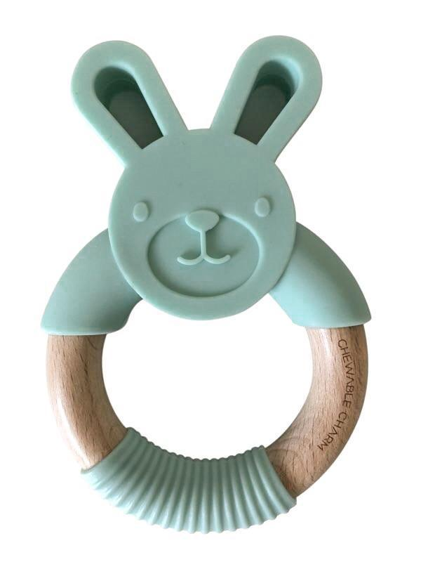 ChewC - Bunny Silicone & Wood Teether - Mint
