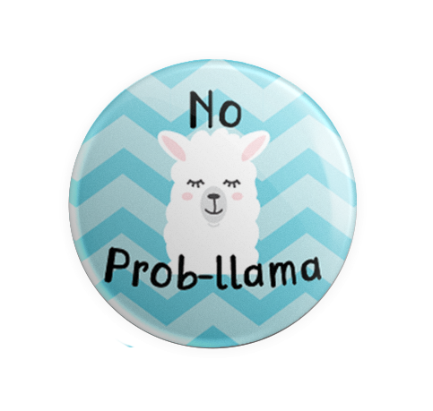 Badge - Printed - No Prom-llama Blue