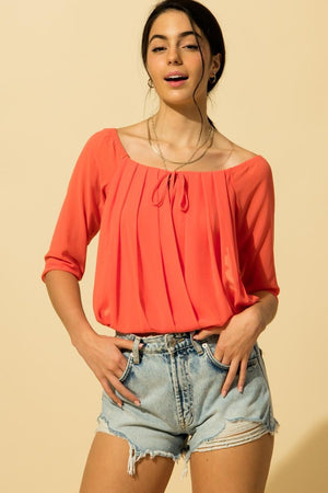 Off Shoulder Pleated Blouse - Coral