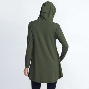 JUD - Women's Hooded Long Sleeve Tunic Top - Dark Olive