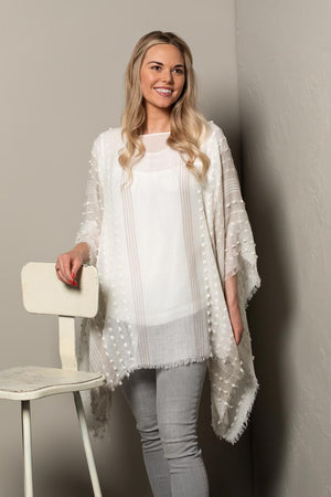 Textured Poncho - White/Light Gray Mix