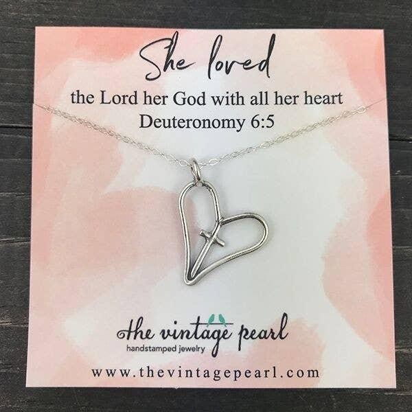 Necklace - She Loved The Lord Her God (Sterling Silver)