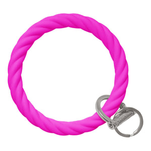 BB - Twisted Bracelet Key Chain - Deep Neon Pink