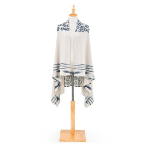 Soft Knit Scarf Vest - Indigo on White