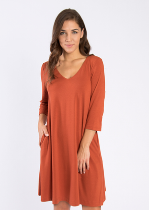 SN - Simply Noelle Everyday Basic Knit Dress - Cider