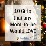 "Photo of pregnant woman by a lit Christmas tree with text ""10 gifts that any mom to be would love"""