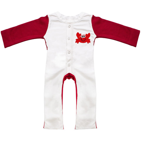 Baby one-piece jumpsuit in white and red with a crab design