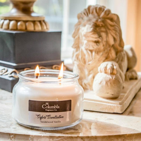 Photo of a two wick burning candle on a table with a small lion statue