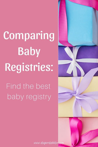 "Photo of gift wrapped presents with text ""Comparing Baby Registries: Find the best baby registry"""