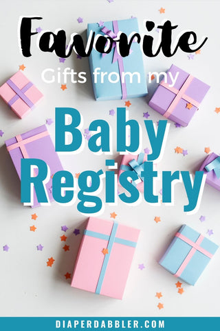 """Photo of wrapped gifts and confetti with text """"Favorite Gifts from my Baby Registry"""""""