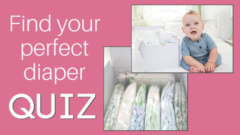 """Pink background with photos of a Diaper Sampler Package in a white gift box and a smiling sitting baby includes text """"Find your perfect diaper QUIZ"""""""