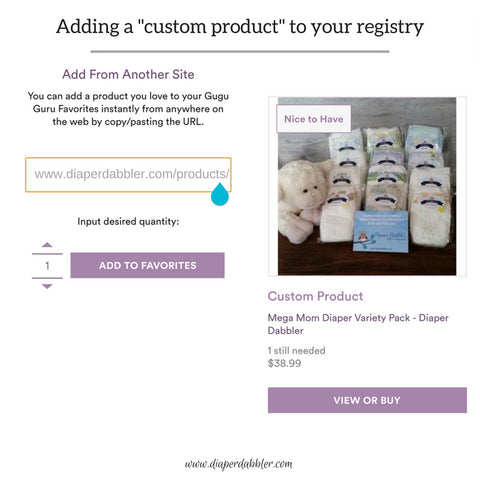 Add a Custom Product to your Gugu Guru Baby Registry