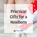 "Photo of baby holding a red wrapped present with white bow and text ""practical gifts for a newborn"""