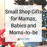 """Photo of woman and two children in front of Christmas tree with text overlaid 'Small Shop Gifts for Mamas, Babies and Moms-to-be"""""""