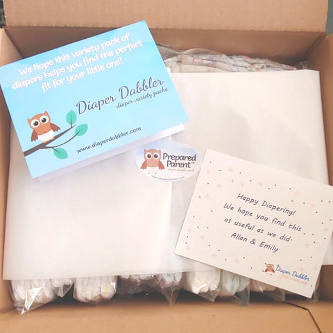 Diaper Sampler Package with gift card