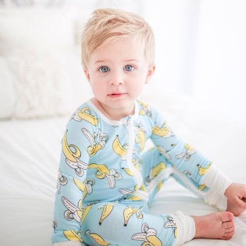 Toddler wearing Banana Baby Bamboo Zippy Pajamas