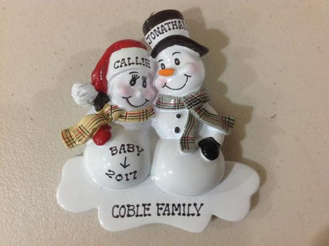 Personalized Christmas Ornament - pregnant snowcouple