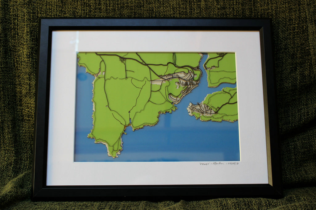 Papercut map of Fowey - 1st (Paper) Wedding anniversary gift