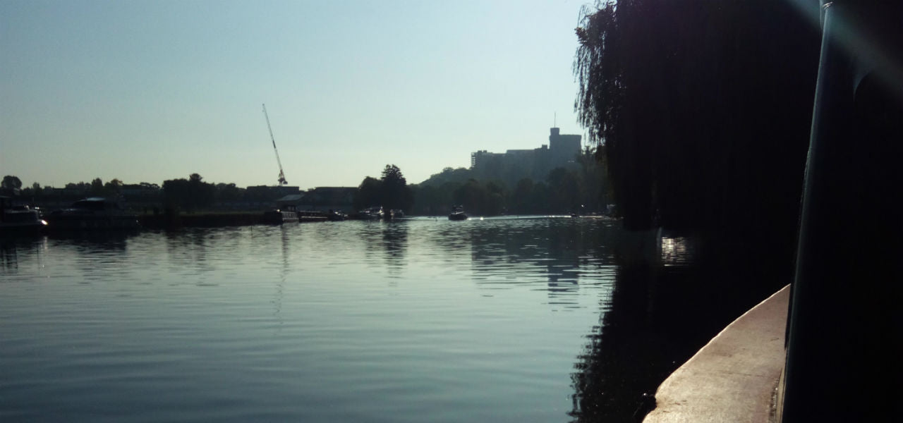 Moored upstream of Windsor Castle