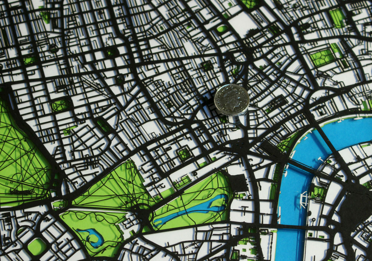 Original London art - a papercut map commission of central London