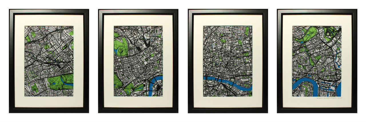 A commissioned series of four papercut maps spanning central London