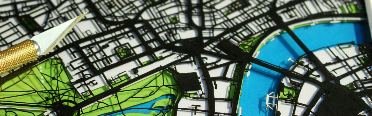 3D papercut map wall art commission close-up