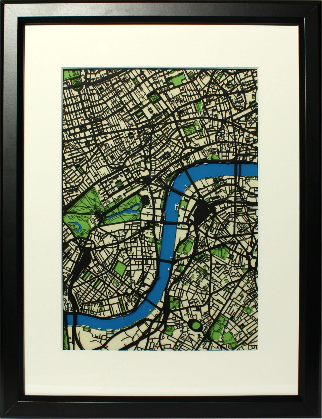 Papercut map of London (Two of four). Featuring the River Thames, Westminster, Lambeth, London Southbank and St Jamess Park