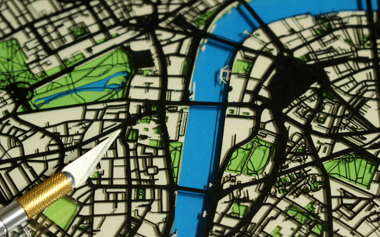 Framed London art - a papercut map featuring the River Thames