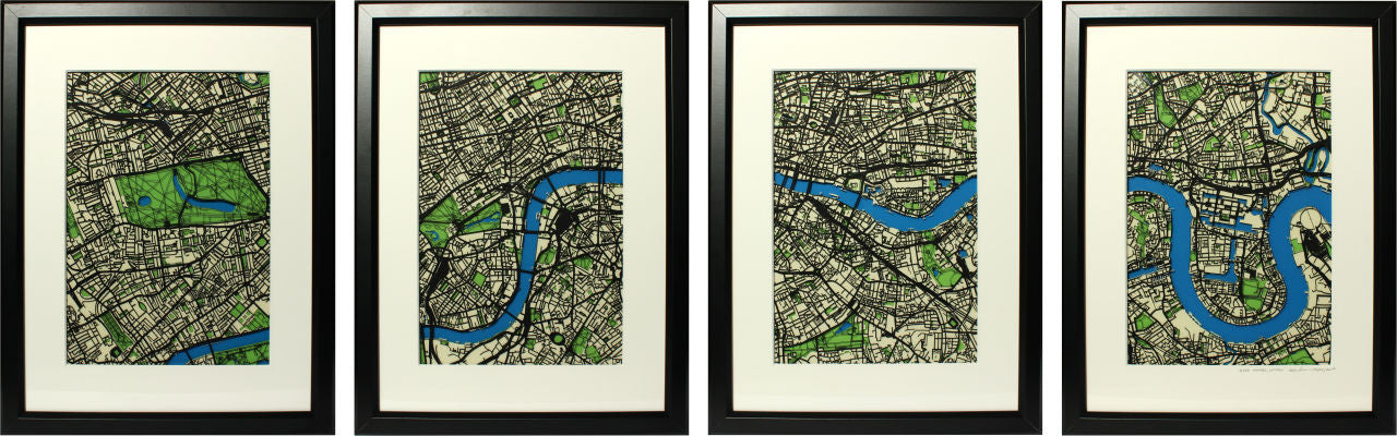 A set of four original artist papercut maps. London wall art - London papercut street maps