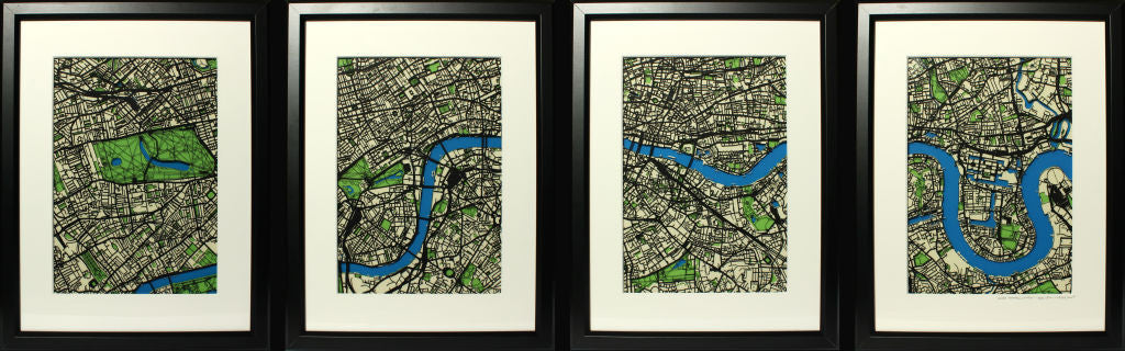 The River Thames - London. Limited edition Wall art papercut maps