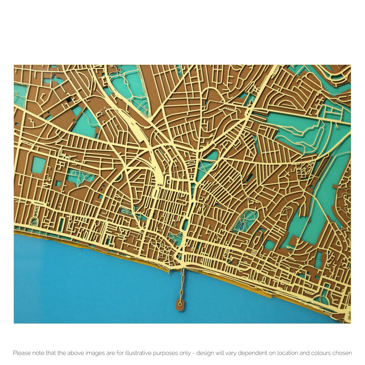 Bespoke papercut maps of Brighton Wall art made to order Plan B