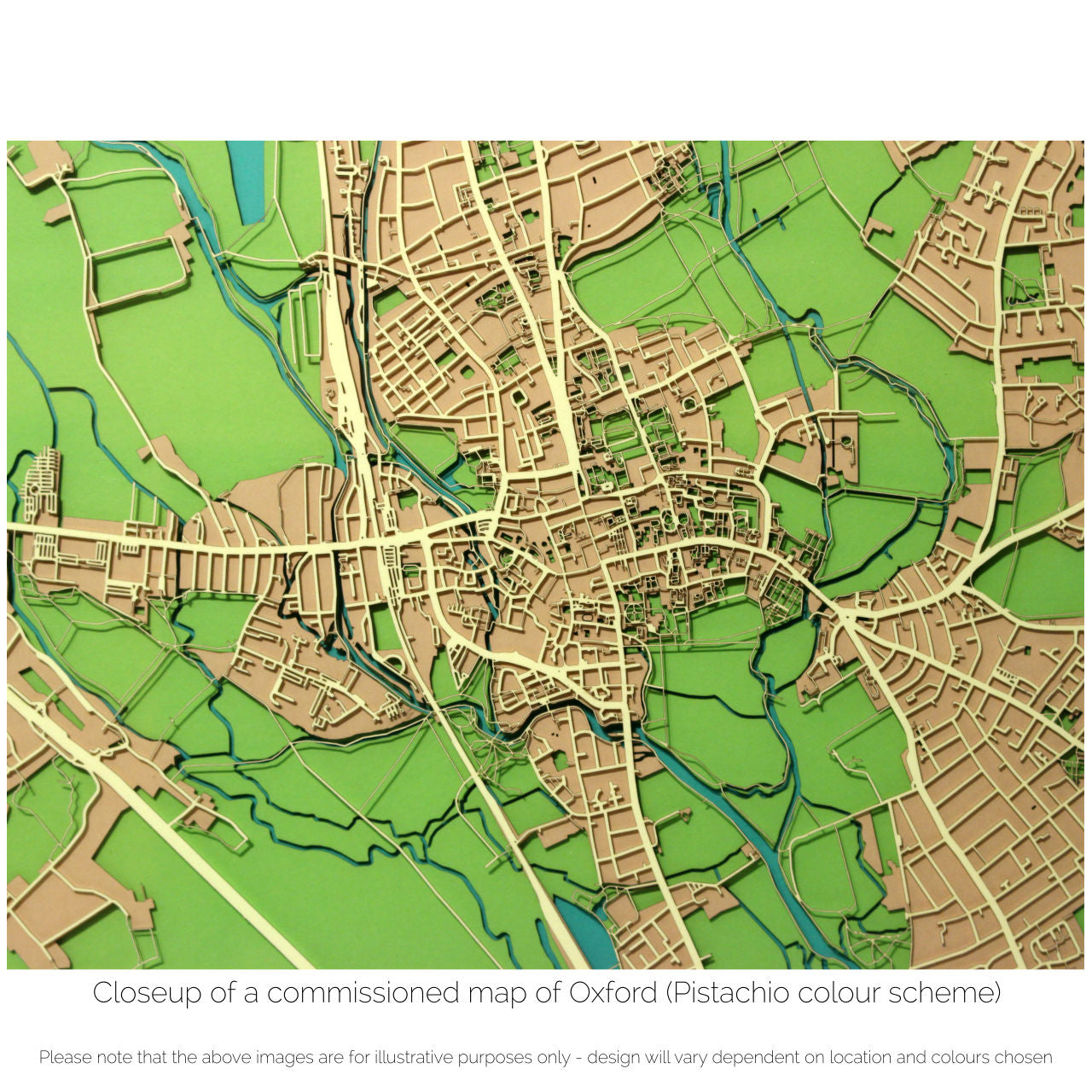 an intricate street map of oxford cut from paper