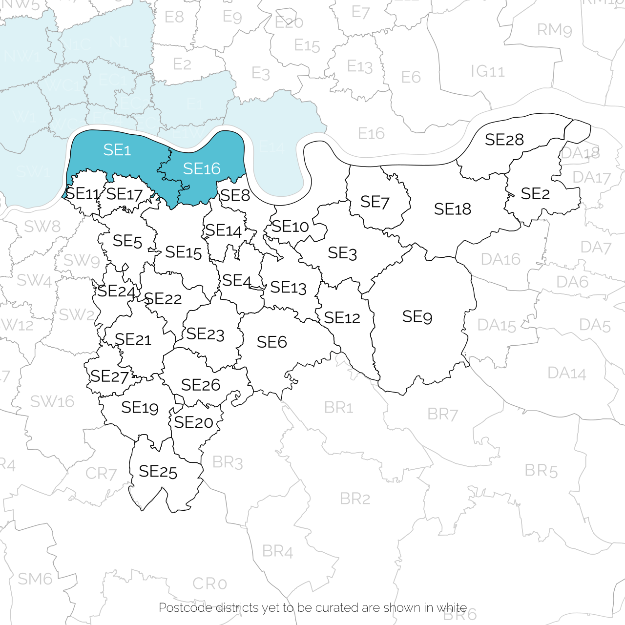 south east london postcode districts available for papercut map commissions
