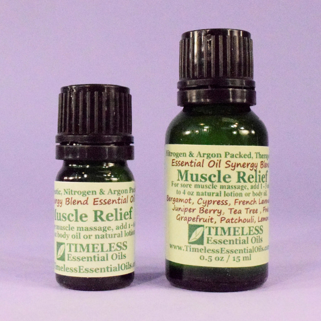 TIMELESS Essential Oils Muscle Relief Synergy Blend helps relieve tense, tired muscles and aching joints.