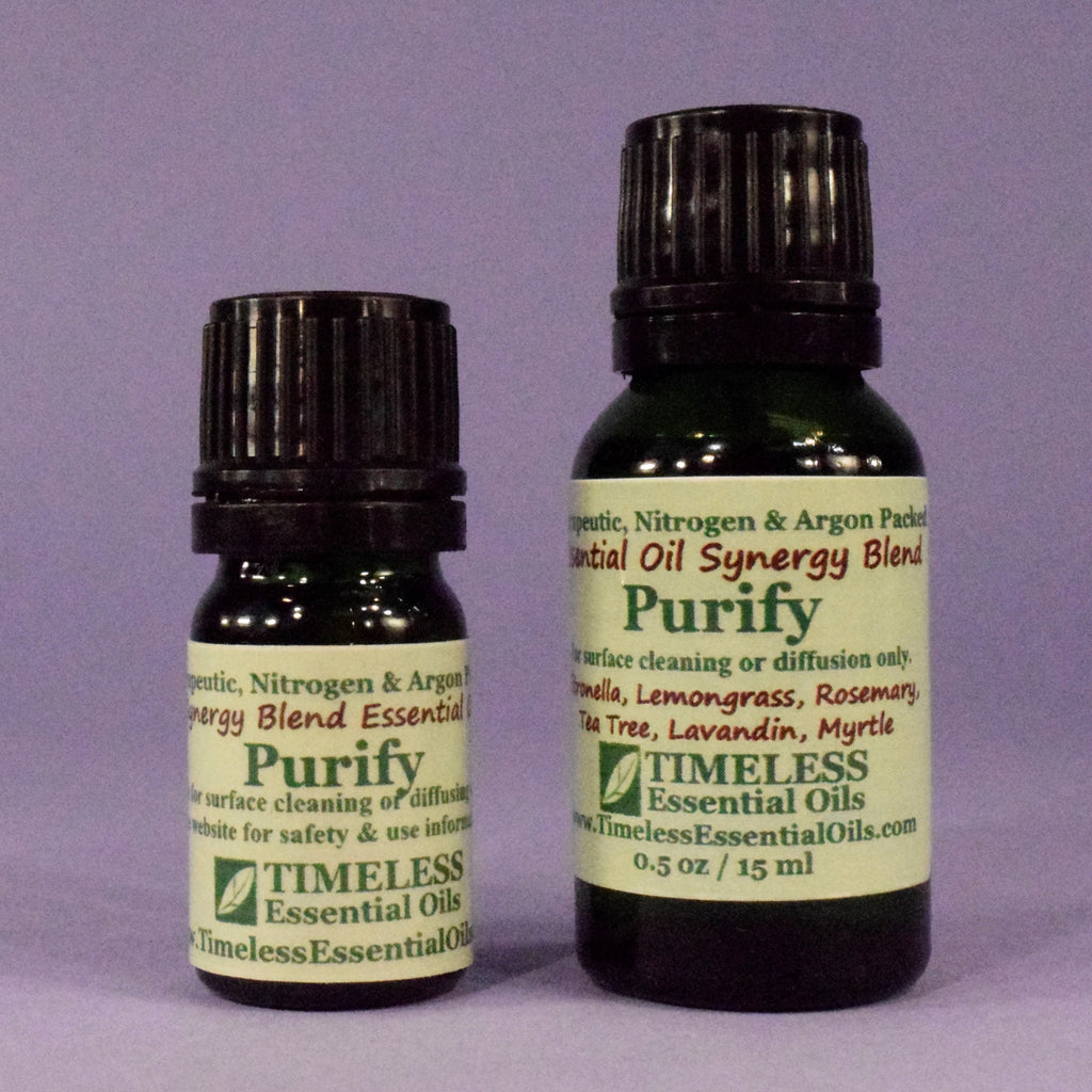 TIMELESS Essential Oils Purify Synergy Blend helps eliminate bad odors and allergens. May reduce incidence of cold and flu.