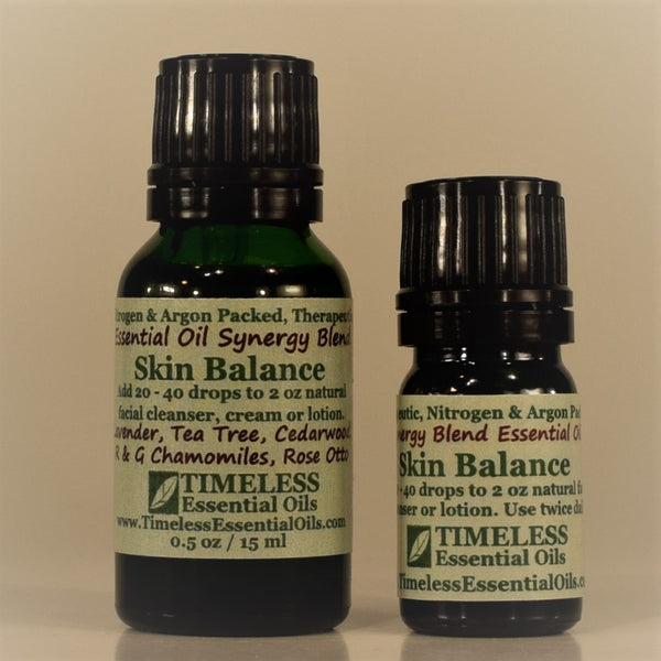 TIMELESS Skin Balance essential oil blend soothes, clarifies and conditions dry, acneic and combination skin.