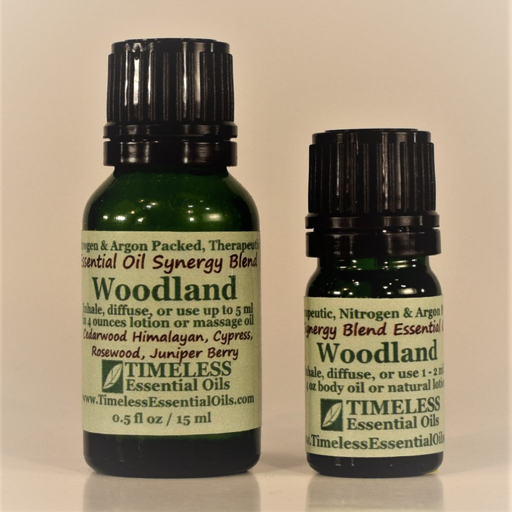 TIMELESS Essential Oils Woodland Blend is grounding and naturally deodorizing, making it a popular diffuser blend.