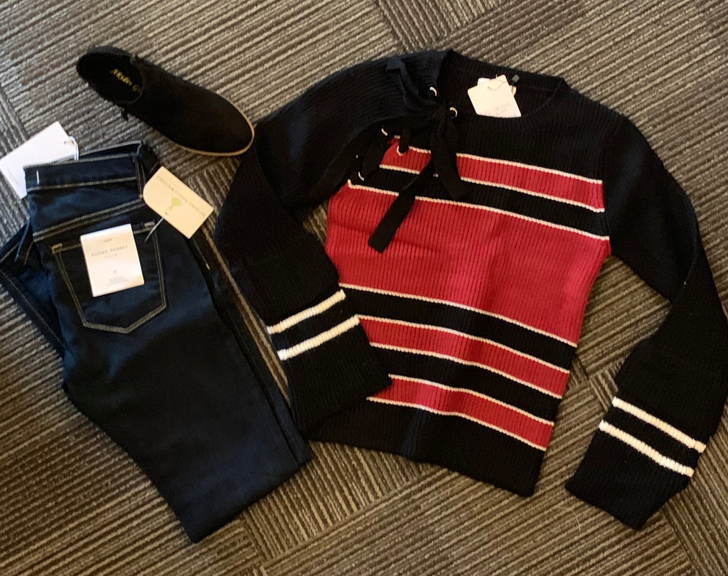 Tanib red and black tie sweater