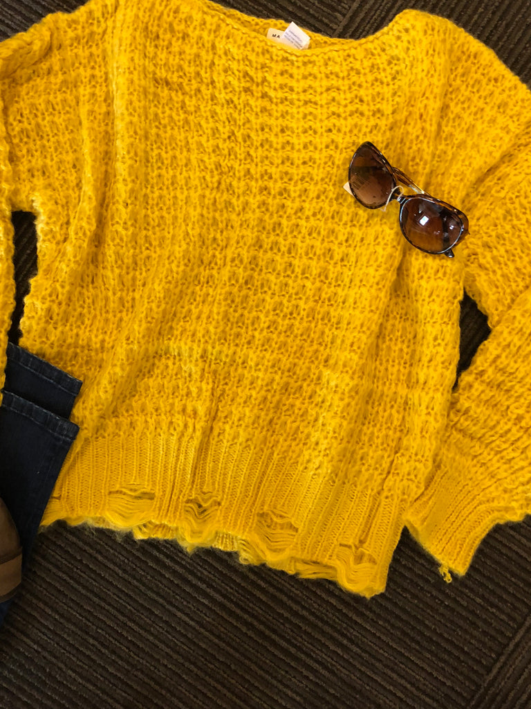 Main strip distressed mustard sweater