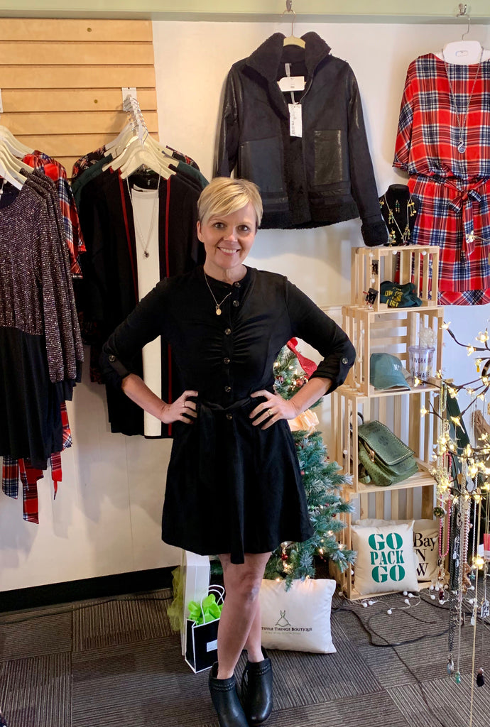 Main strip black faux suede dress