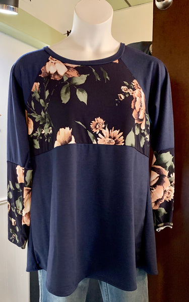 Voll Plus 1X-3X floral detail navy